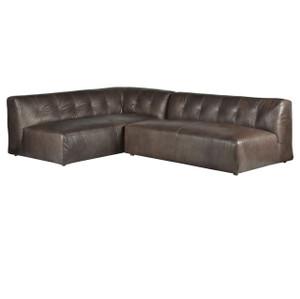 Rio Gunmetal Leather 2 Piece Sectional Sofa