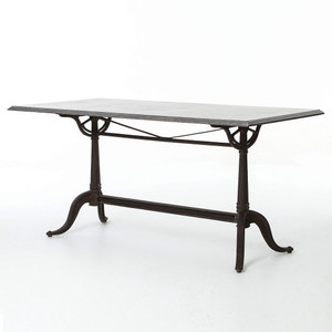 Parisian Industrial Cast Iron + Bluestone Bistro Dining Table