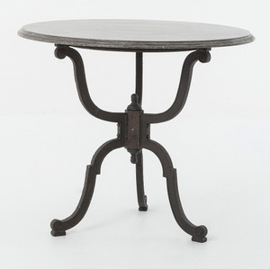 French Industrial Iron + Bluestone Bistro Round Pedestal Table