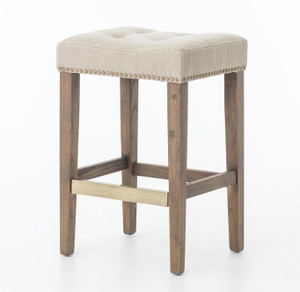 Ashford French Beige Tufted Nailhead Counter Stool