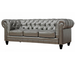 Zahara Tufted Silver Leather Chesterfield Sofa