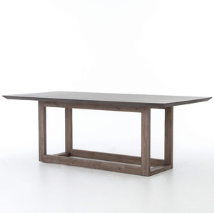 """Masonry Wood and Black Concrete Top Dining Table 79"""""""
