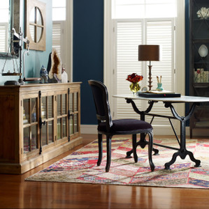 French Industrial White Marble Top Oval Writing Desk