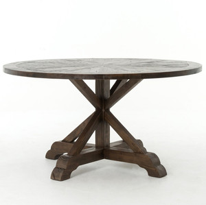 """Umber Reclaimed Wood 59"""" Round Pedestal Dining Table"""