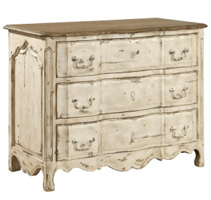Delacroix Vintage White French Country 3 Drawer Chest
