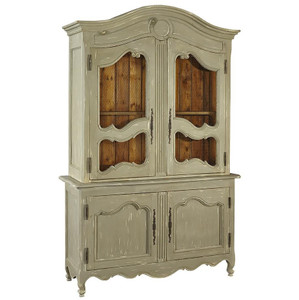 French Country Grey Wood Sideboard with Hutch Cabinet