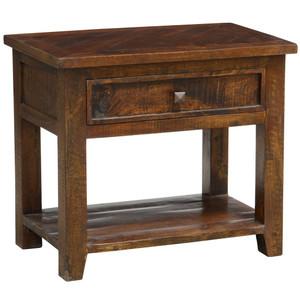 Kosas Solid Dark Wood 1 Drawer Nightstand