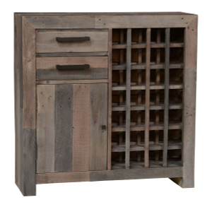 Angora Storm Reclaimed Wood Wine Cabinet