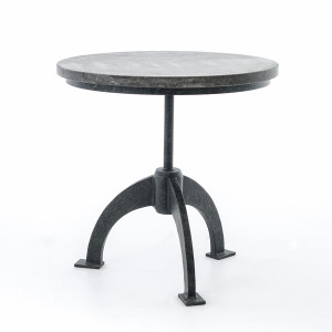 French Industrial Bluestone Top Round End Table