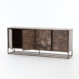 French Industrial Iron + Oak Wood 4 Door Sideboard