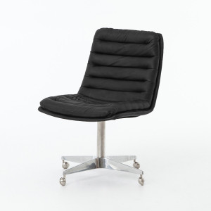 Malibu Distressed Black Leather Office Desk Chair