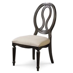 Country-Chic Maple Wood Black Pierced Back Dining Side Chair