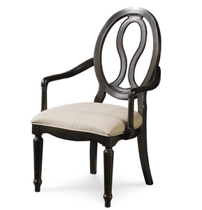 Country-Chic Maple Wood Black Pierced Back Arm Chair