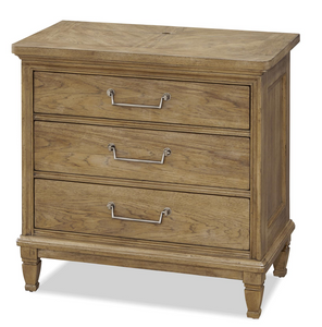 French Modern Light Wood 3 Drawers Nightstand