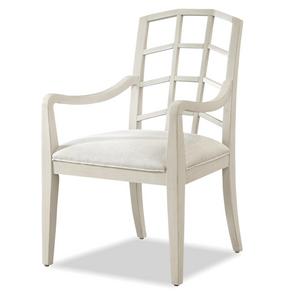 French Modern Slip Upholstered White Dining Arm Chair
