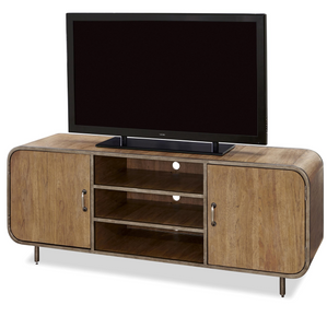 French Modern Industrial Wood + Metal Media Console
