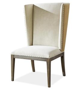 Playlist Vintage Oak Upholstered Dining Host Chair