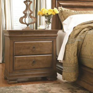 Louis Philippe Solid Wood 2 Drawer Nightstand
