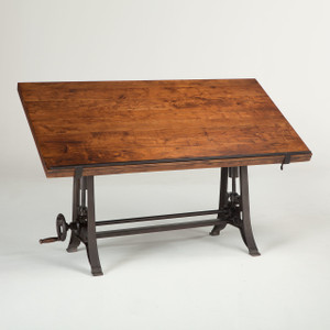 French Industrial Architect Drafting Table - Walnut