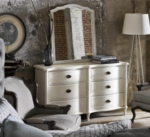 Amity French Oak Wood 6 Drawer Dresser - White
