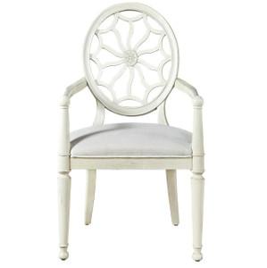 Sojourn Slip Upholstered Medallion Arm Chair - White