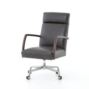 Bryson Black Leather Oak Office Desk Chair