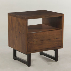Live Edge Solid Wood & Iron 1 Drawer Nightstand