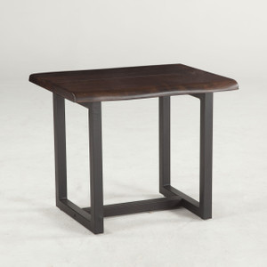 """Live Edge Solid Wood & Iron Side Table 28"""""""