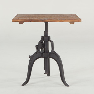 """Steampunk Industrial Crank Adjustable Square Table 30"""""""