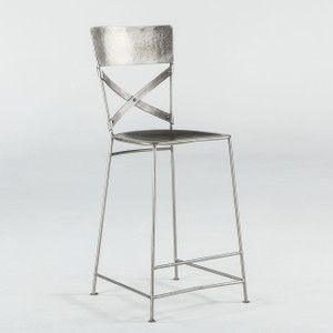 Steampunk Industrial Iron Counter Chair - Nickel