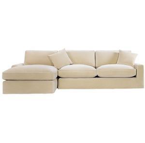 Casual Sand Velvet Upholstered Sectional Sofa