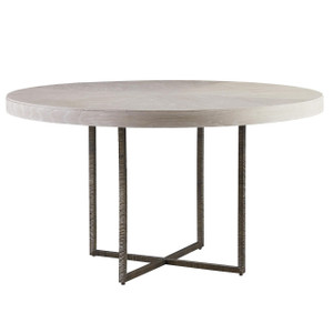 Modern Grey Oak Wood + Bronze Metal Leg Round Dining Table
