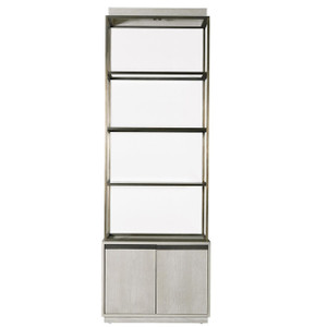 Modern Grey Oak Wood + Bronze Metal Etagere Bookcase