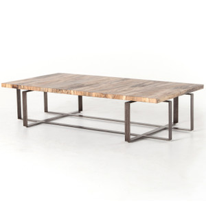 """Brant Spalted Wood and Iron Leg Large Coffee Table 65"""""""