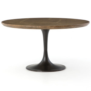 Aero Tulip Industrial Brass Clad Top Round Dining Table 55""