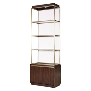 Gibson Upholstered Back Brushed Gold Bookcase Etagere