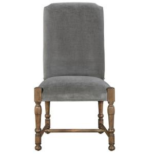 French Country Gray Velvet Upholstered Side Chair