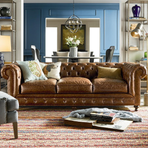 Belgian 3-Cushion Tufted Saddle Leather Chesterfield Sofa