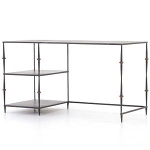 "Art-Deco Penelope Black Iron Office Desk 55"""