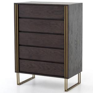 Samara Brass & Black Oak Wood 5 Drawers Tall Dresser