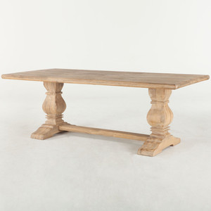 French Farmhouse Solid Wood Trestle Dining Table 84""
