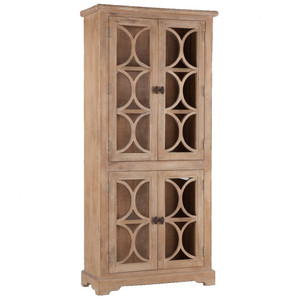 French Farmhouse Solid Wood Glass Door Display Cabinet