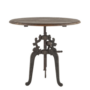 """Hobbs French Industrial Wood Top Round Crank Table 40"""""""