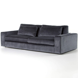 "Bloor Contemporary Charcoal Grey Velvet Upholstered Sofa 98"""