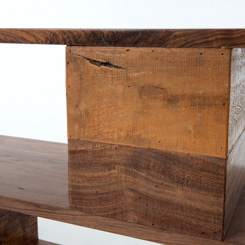 ... Bina Geometric Ginger Reclaimed Wood Console Table ...