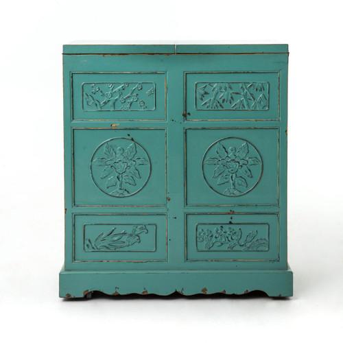 Aqua Hand Painted Elm Wood Wine Cabinet Bar | Zin Home