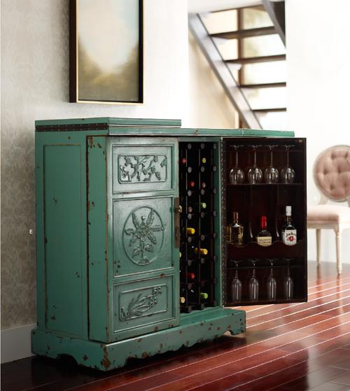 Aqua Hand Painted Elm Wood Wine Cabinet Bar   Zin Home