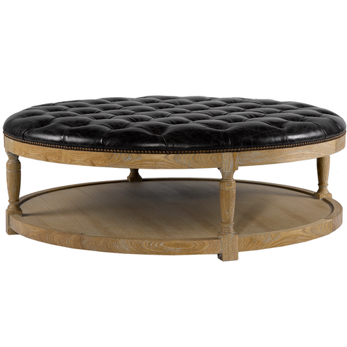 french louis round tufted leather coffee ottoman