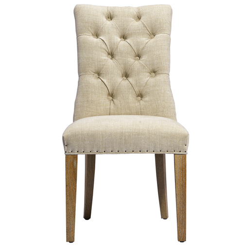 Luxe Linen Upholstered Tufted Dining Armchair