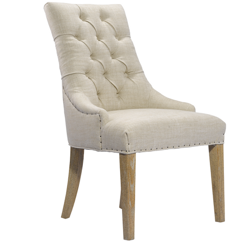 Luxe Linen Upholstered Tufted Dining Armchair Zin Home